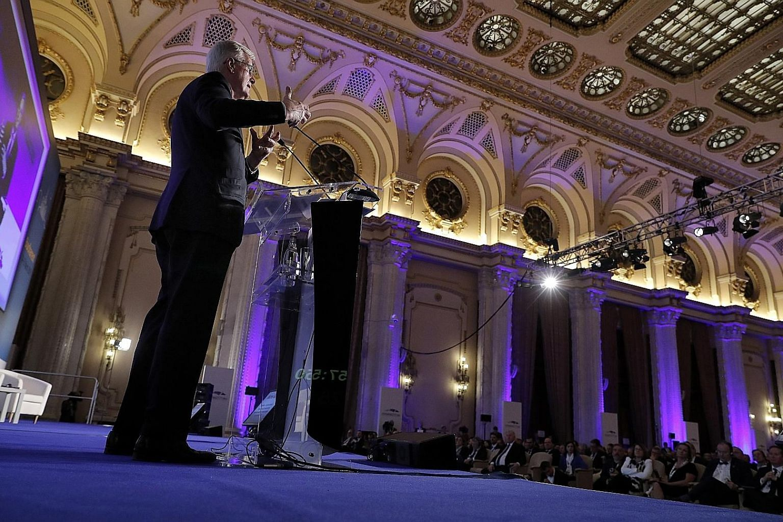 European Union chief Brexit negotiator Michel Barnier speaking on the impact of Brexit at the 8th European Summit of Regions and Cities on Thursday at the Romanian Parliament in Bucharest. As things now stand, Britain's politicians are no longer able