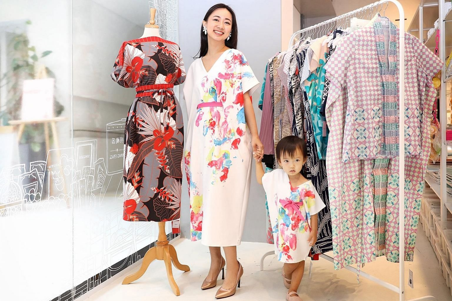 Singapore-based Indonesian designer Anseina Eliza and her daughter Allytheia in her label Ans.Ein, which offers customisation options such as personalised prints. Tops start at $68.