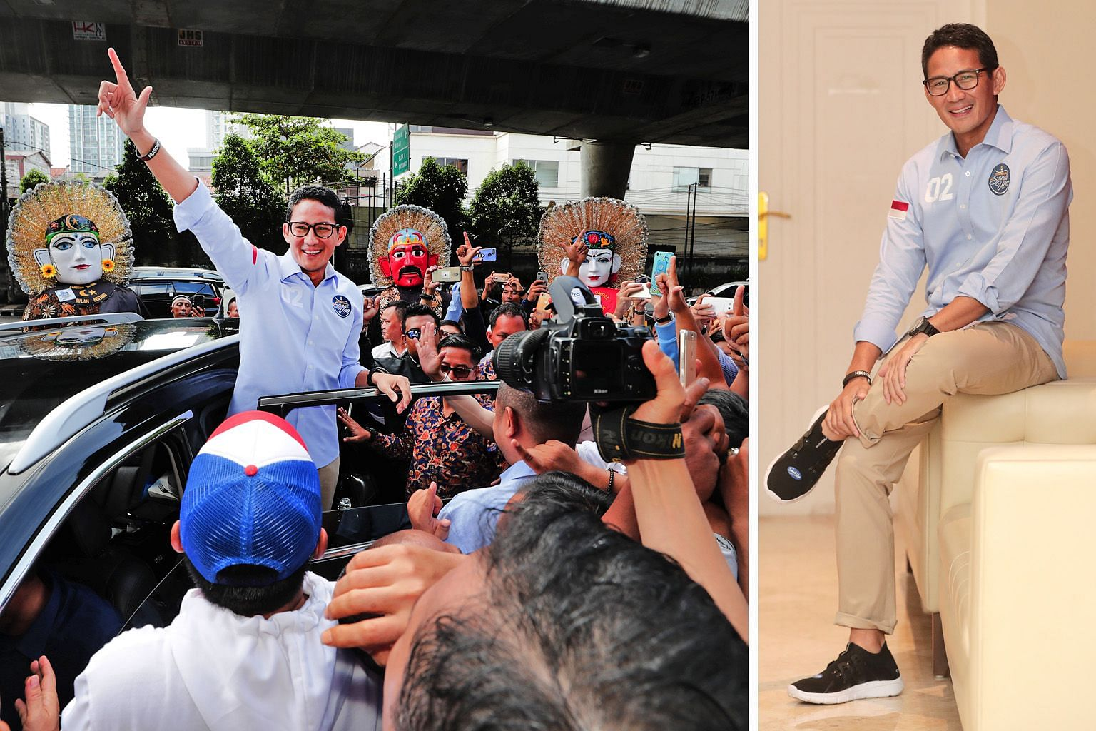 "Vice-presidential candidate Sandiaga Uno waving to the crowd in Kemang on Feb 17 (left). He had attended the launch of an ""I'm SandiUno"" app and met youth volunteers and supporters at a cafe there. Later at an interview in his camp's media centre (be"