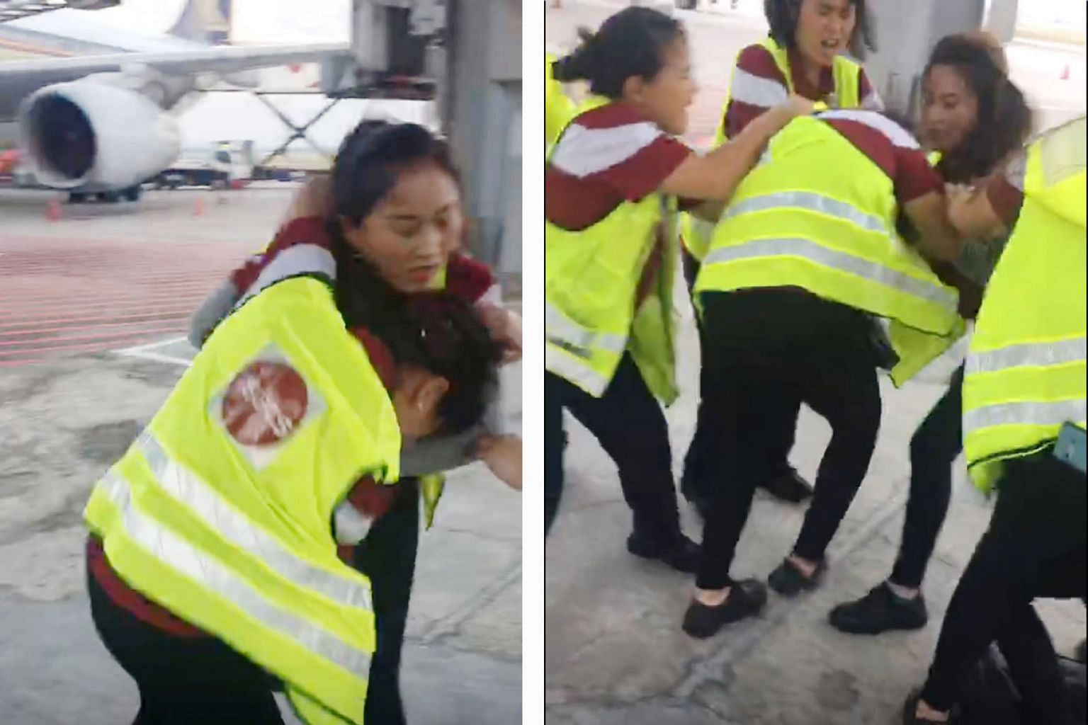 Ground-handling firm Sats is investigating a fight between two employees on the tarmac at Changi Airport. In a video that The Straits Times obtained, the two women are seen hitting each other. At least five other staff members can be seen trying to b
