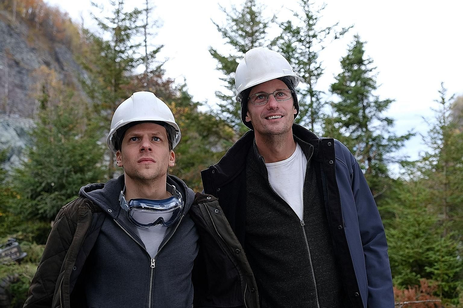 The Hummingbird Project stars Jesse Eisenberg (far left) and Alexander Skarsgard, who hatch a plan to lay a fibre-optic line between New Jersey and Kansas.