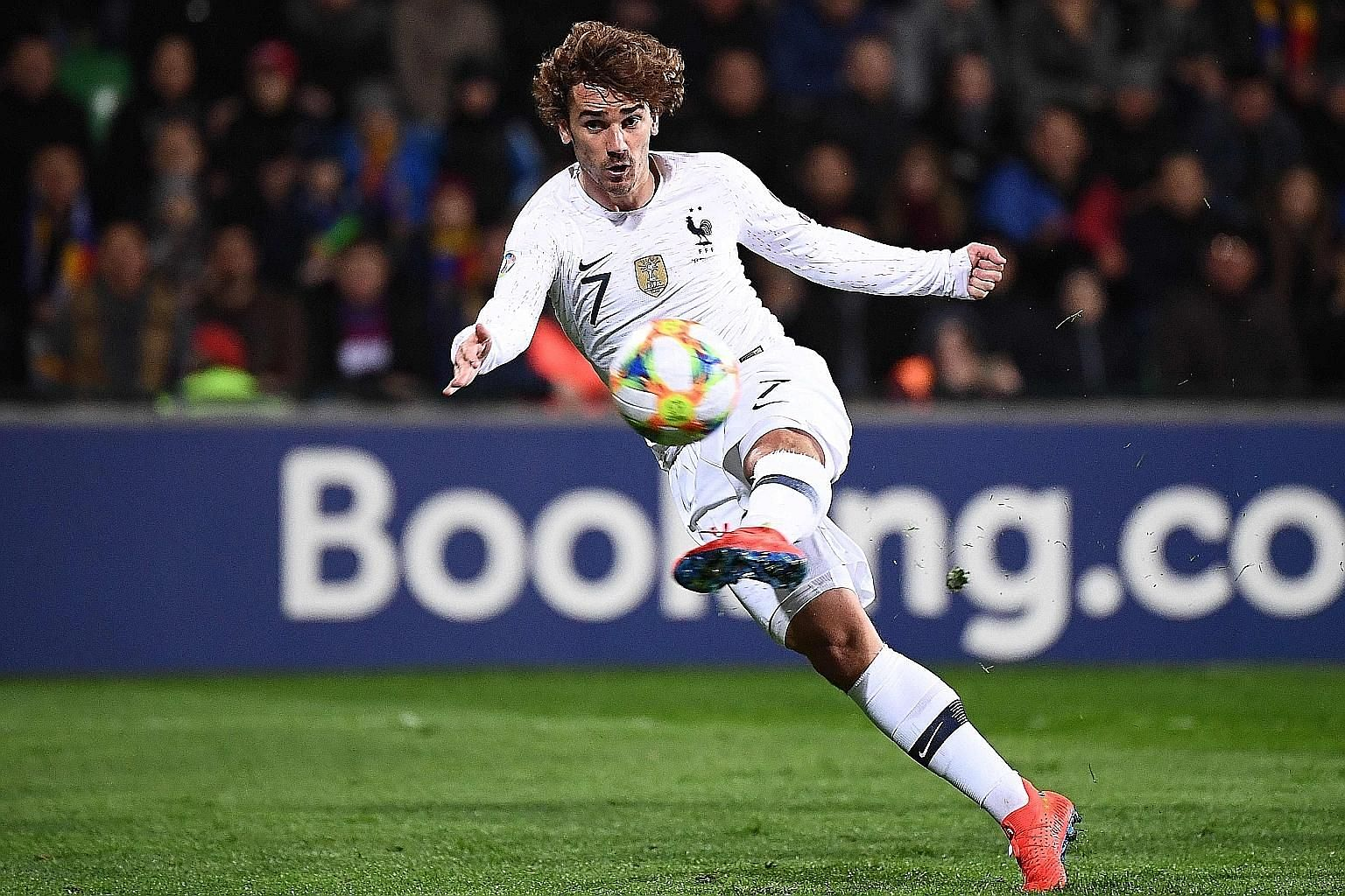Antoine Griezmann opening the scoring in the 24th minute for France against Moldova on Friday. Three minutes later, he crossed for Raphael Varane to double the advantage.