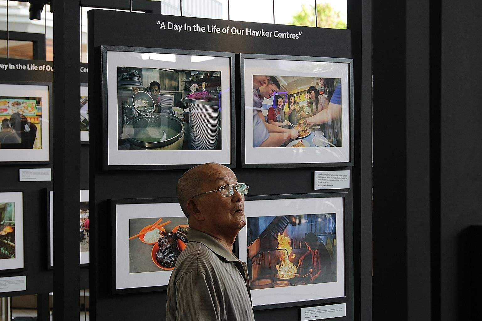 Photos for the #OurHawkerCulture photography contest were on display yesterday at Bedok Town Square, alongside a separate photography showcase on what 24 hours at five different hawker centres here look like.