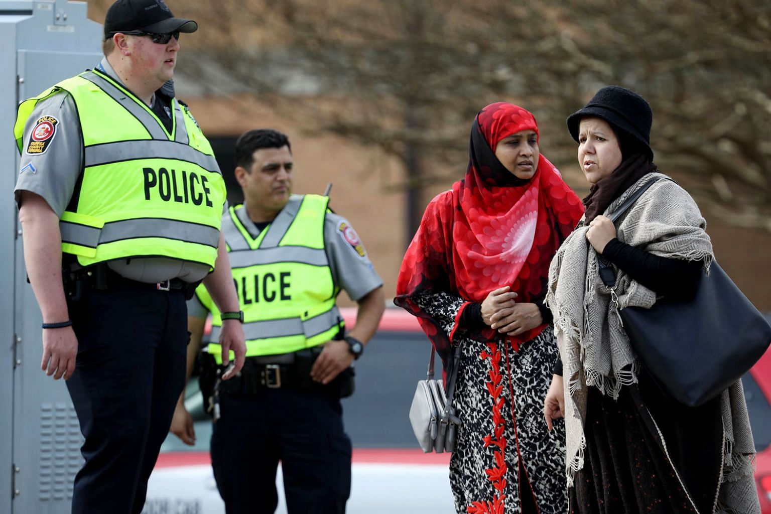 People arriving for Friday prayers amid heightened security at Dar Al Hijrah Islamic Centre in Falls Church, Virginia, after the New Zealand mosque shootings on March 15.