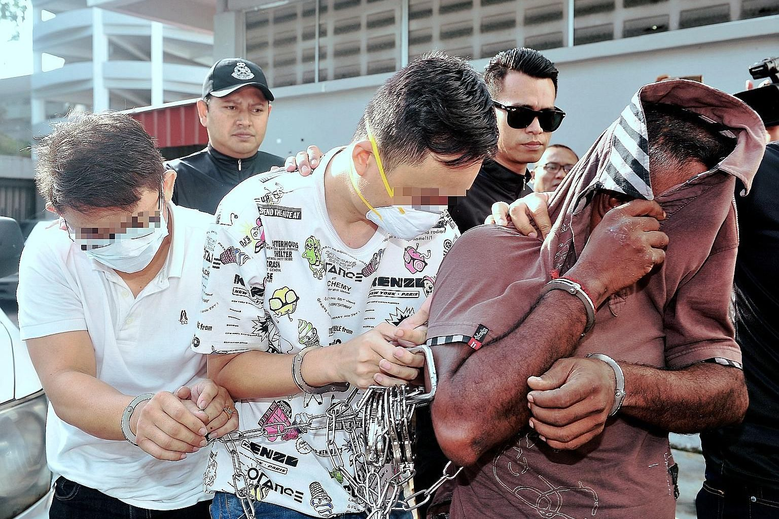The three men - two directors and a lorry driver of a used tyre-processing company - pleaded not guilty to the charges in the Sessions Court in Johor Baru yesterday
