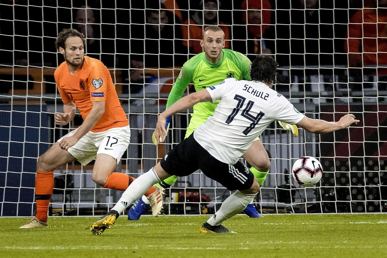 Germany defender Nico Schulz scoring the winner in the 3-2 victory over the Netherlands in Amsterdam on Sunday to start their Euro 2020 Group C qualifiers on a positive note.