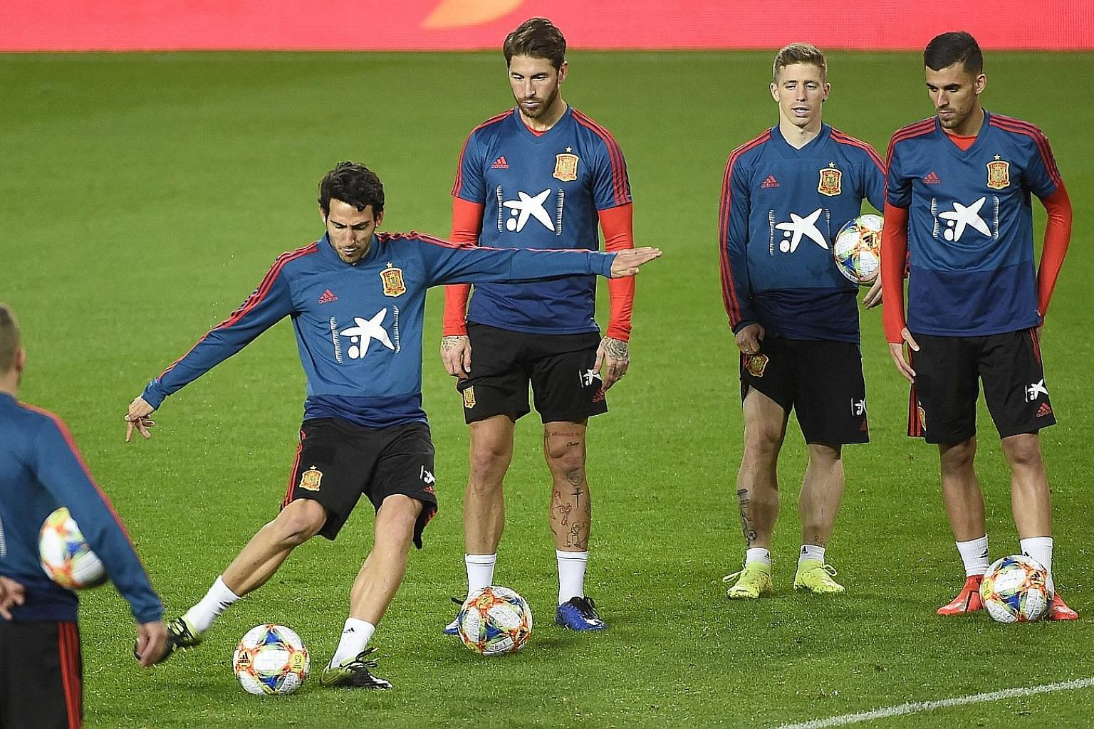Spain midfielder Dani Parejo taking a shot during training. He could be in the starting line-up against Malta for their Euro 2020 qualifier today.