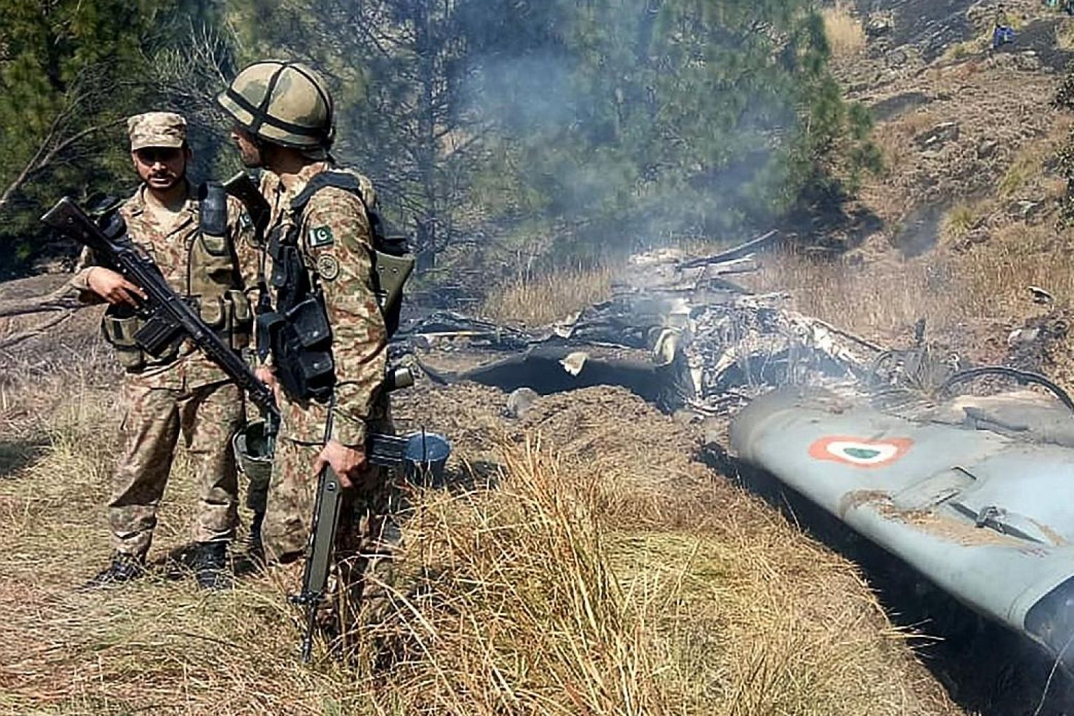 The wreckage of an Indian fighter jet shot down in Pakistan-controlled Kashmir on Feb 27. The writer says that potential crisis situations like this present an opportunity for Asean to cement its centrality in regional affairs by, for example, exerci