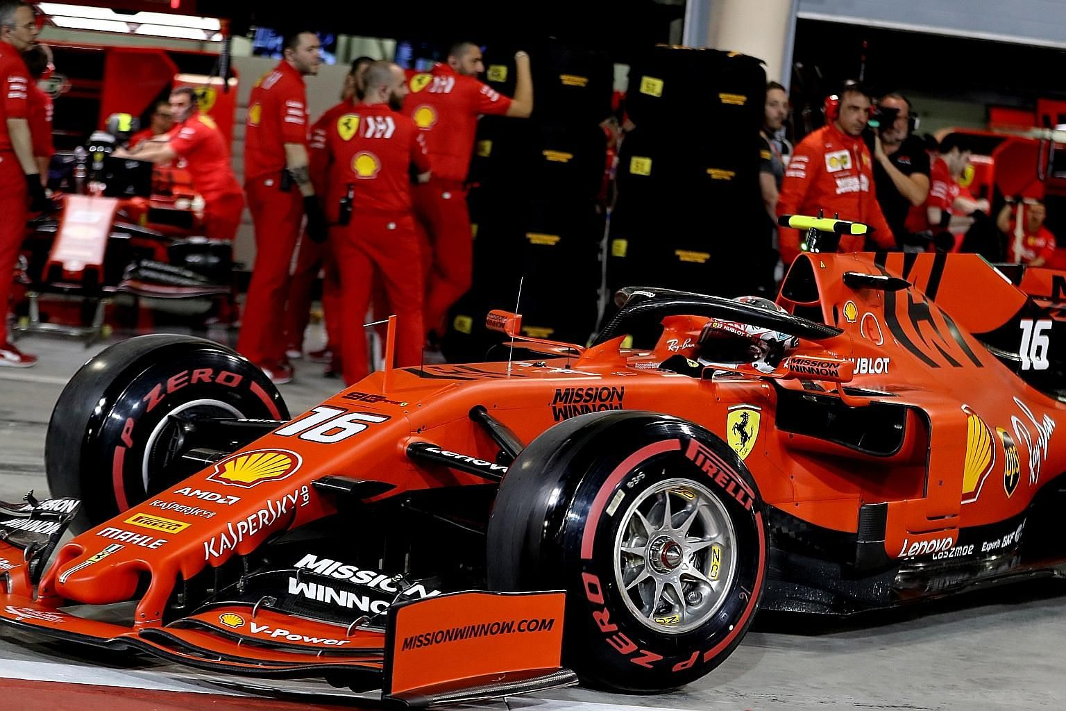 Ferrari driver Charles Leclerc leaving the pit during yesterday's qualifying for the Formula One Bahrain Grand Prix at the Sakhir circuit. He is the second-youngest pole sitter after teammate Sebastian Vettel.