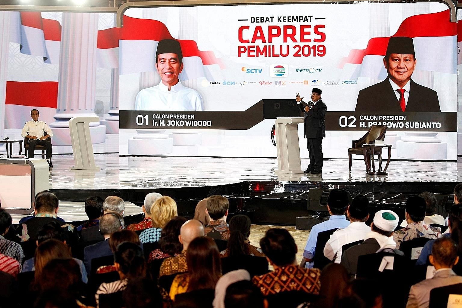 Indonesia's presidential candidate Prabowo Subianto and his rival, President Joko Widodo, during the televised debate last Saturday, ahead of elections on April 17.