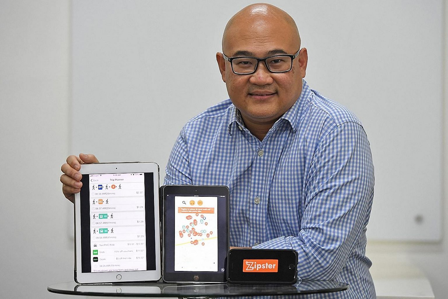 Mr Colin Lim, CEO of mobilityX, says the SMRT-backed app Zipster features an integrated mobile wallet that can be used for rides across transport services.