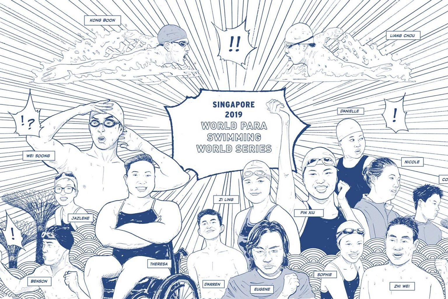 Created by award-winning cartoonist Sonny Liew, the visuals feature, among others, Singapore Paralympic swimmers such as Theresa Goh and Yip Pin Xiu.