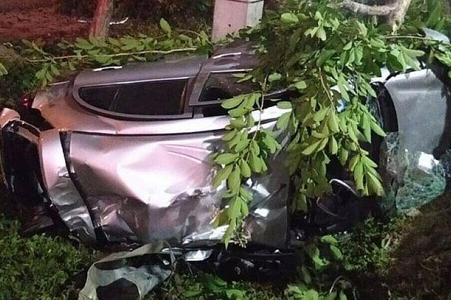 Mr Joshua Tan Xing Hao crashed his car into a tree last Saturday. His Thai companion was seriously injured.
