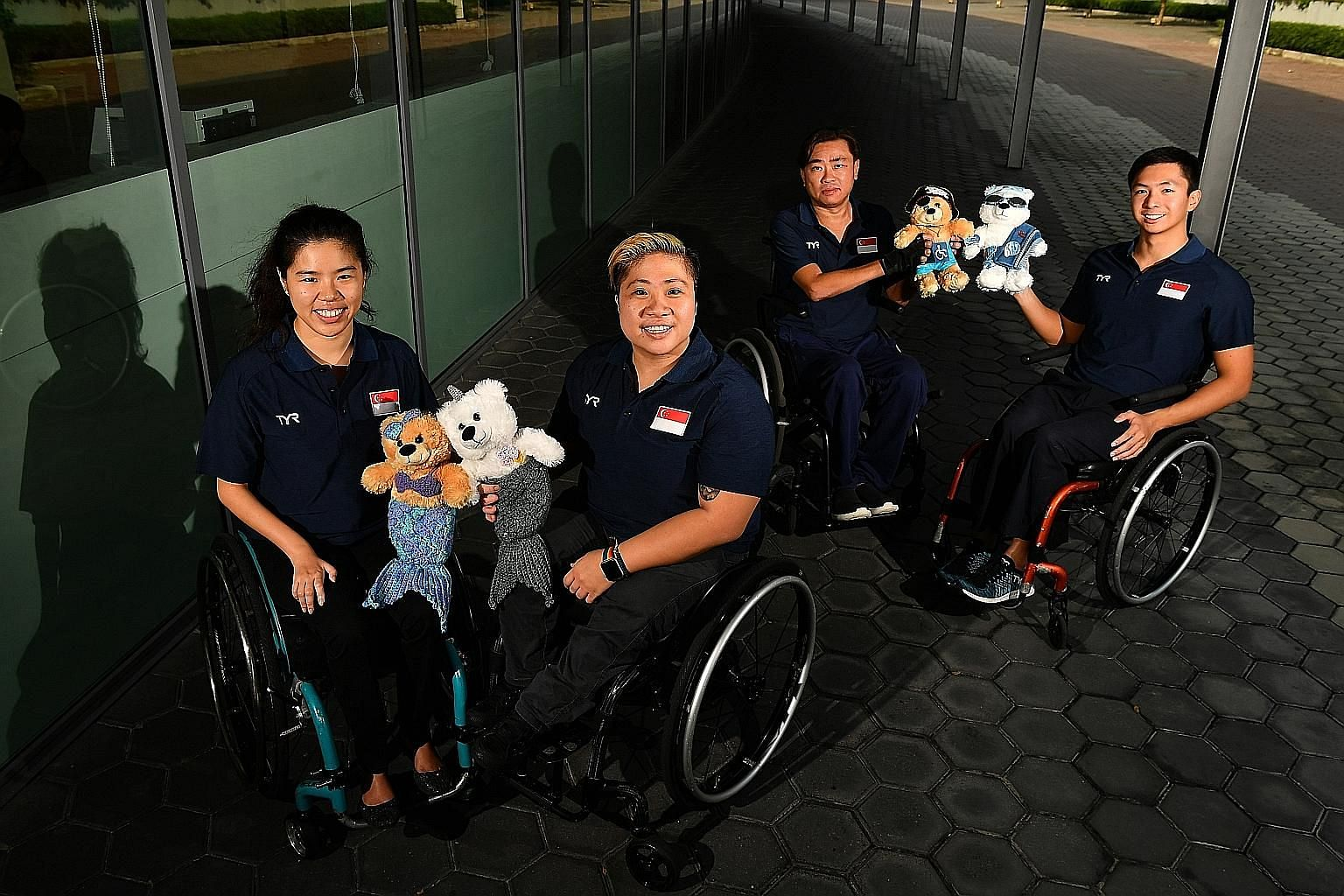 From left: Yip Pin Xiu, Theresa Goh, Eugene Png and Toh Wei Soong will be competing in the mixed team 4x50m freestyle (20 points) during the World Para Swimming World Series' Singapore leg at the OCBC Aquatic Centre.