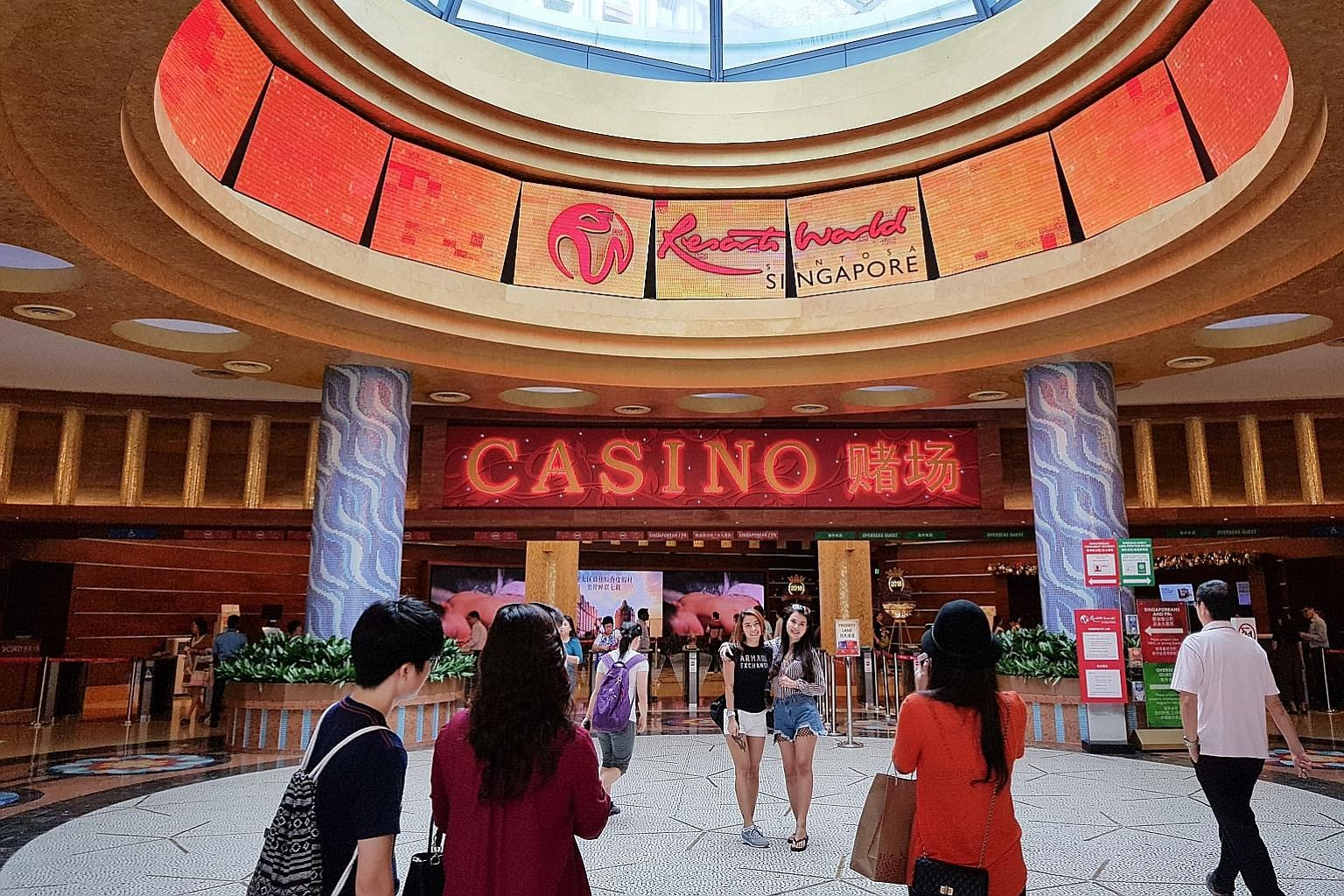 From today, the daily and annual levies for Singapore permanent residents and citizens to enter the casinos in Resorts World Sentosa (above) and Marina Bay Sands will be raised.