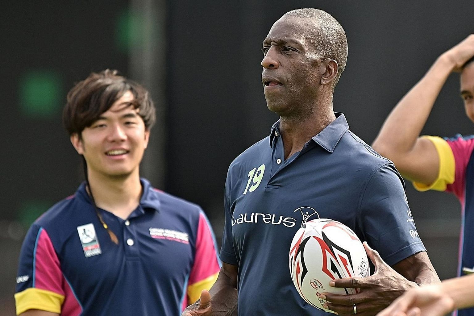 Former world and Olympic track champion Michael Johnson during a promotional event for the Hong Kong Rugby Sevens. The sport is gaining in popularity in the United States after its Olympic debut in 2016.