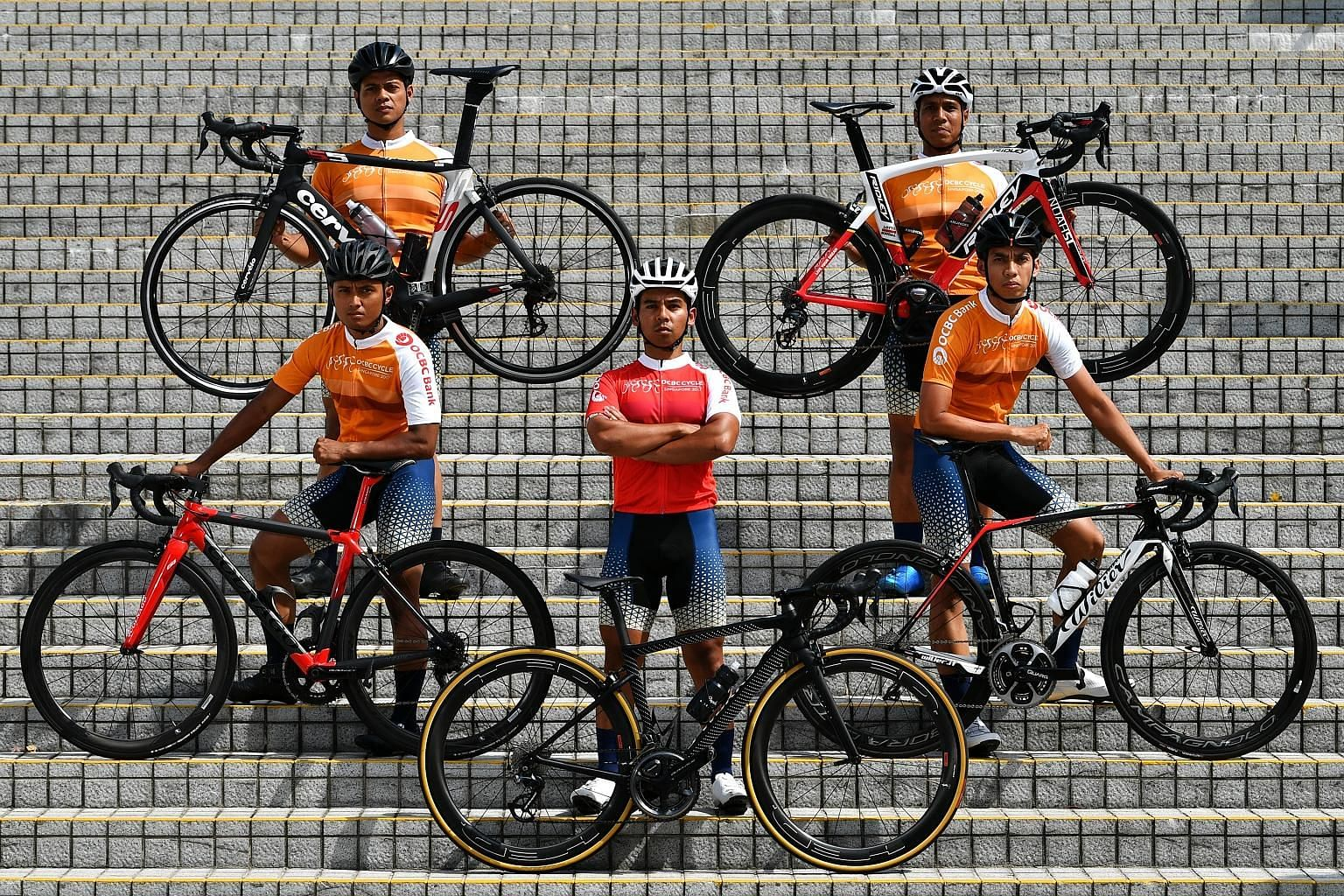 SCDF cycling team leader Ahmad Ridhwan Dahlan (in red) and his team members (clockwise from his right) Yazid Amir, Syed Amir Haziq, Shuhrawardi Hussain and Suhardi Sa'ad train twice to thrice a week, cycling about 40km each time. They also cycle some