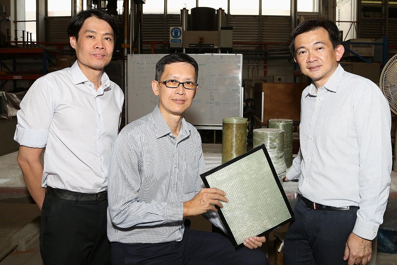 From left: Mr Calvin Chung, group director of engineering at JTC; Associate Professor Ng Kee Woei, from NTU's School of Materials Science and Engineering; and Dr Ang Choon Keat, founder of Prostruct Consulting. FasRaP was jointly developed by scienti