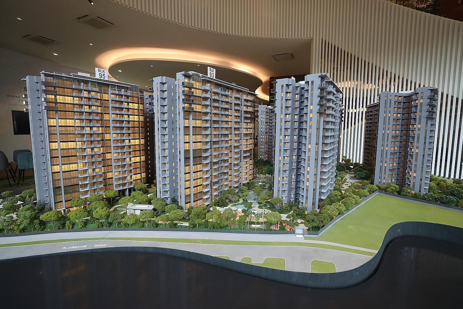 """The Florence Residences (left) and Treasure @ Tampines were two mega launches last month. ZACD Group head of research and consultancy Nicholas Mak noted their effect on private residential resale prices, which """"continued to remain resilient""""."""