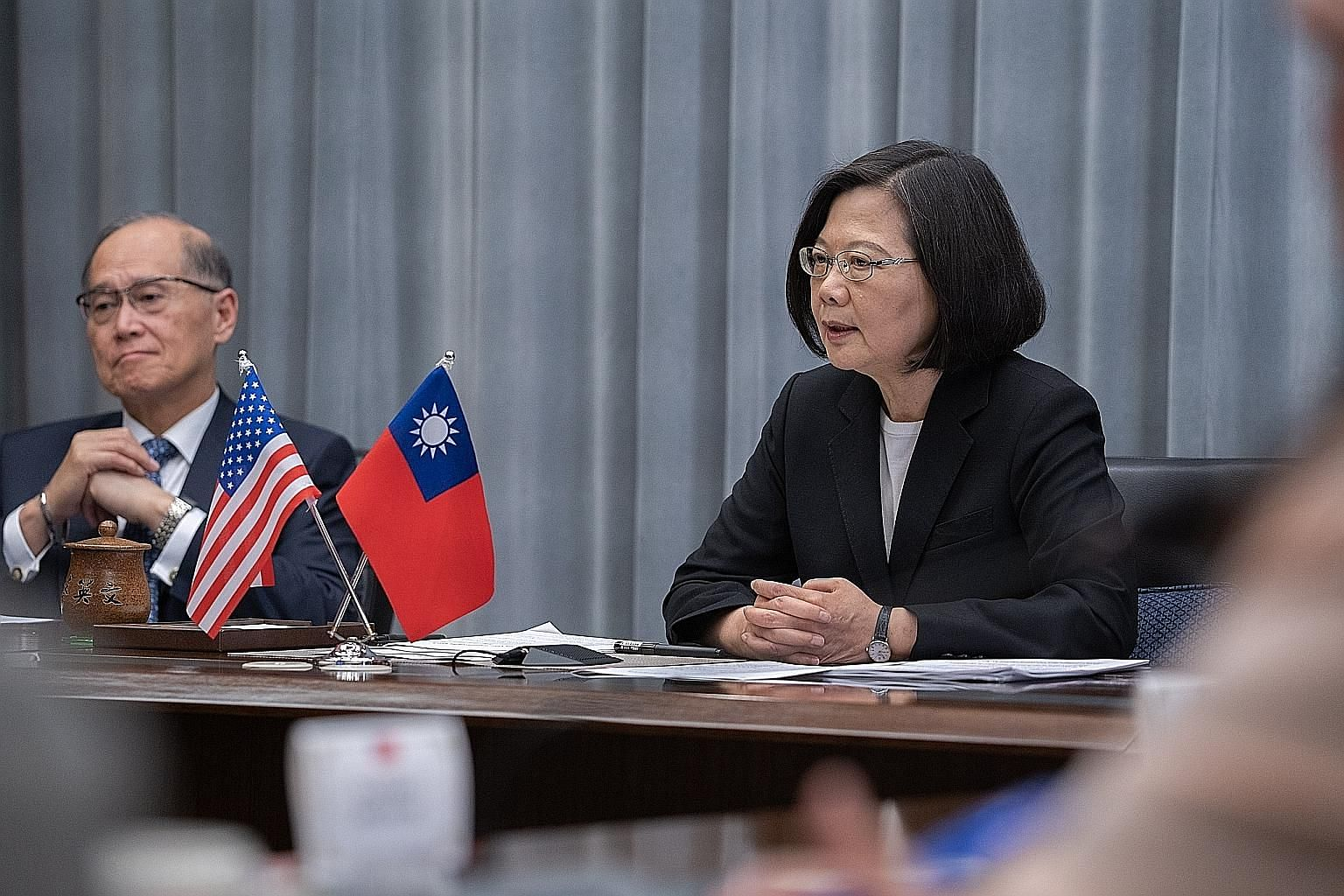 Taiwanese President Tsai Ing-wen speaking during a video conference with US think-tanks in Taipei on Tuesday. She said the self-governing island considers itself a full partner of the US' Free and Open Indo-Pacific strategy.