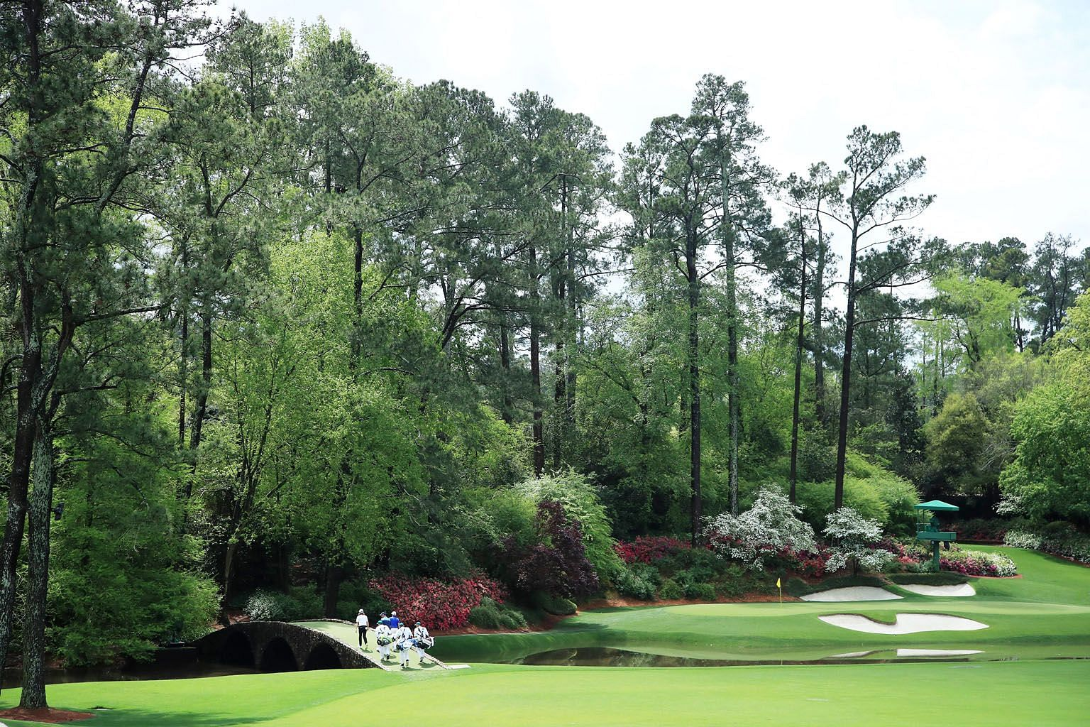 Hogan Bridge on the 12th hole, the fourth hardest, during a practice round before the Masters at Augusta National.