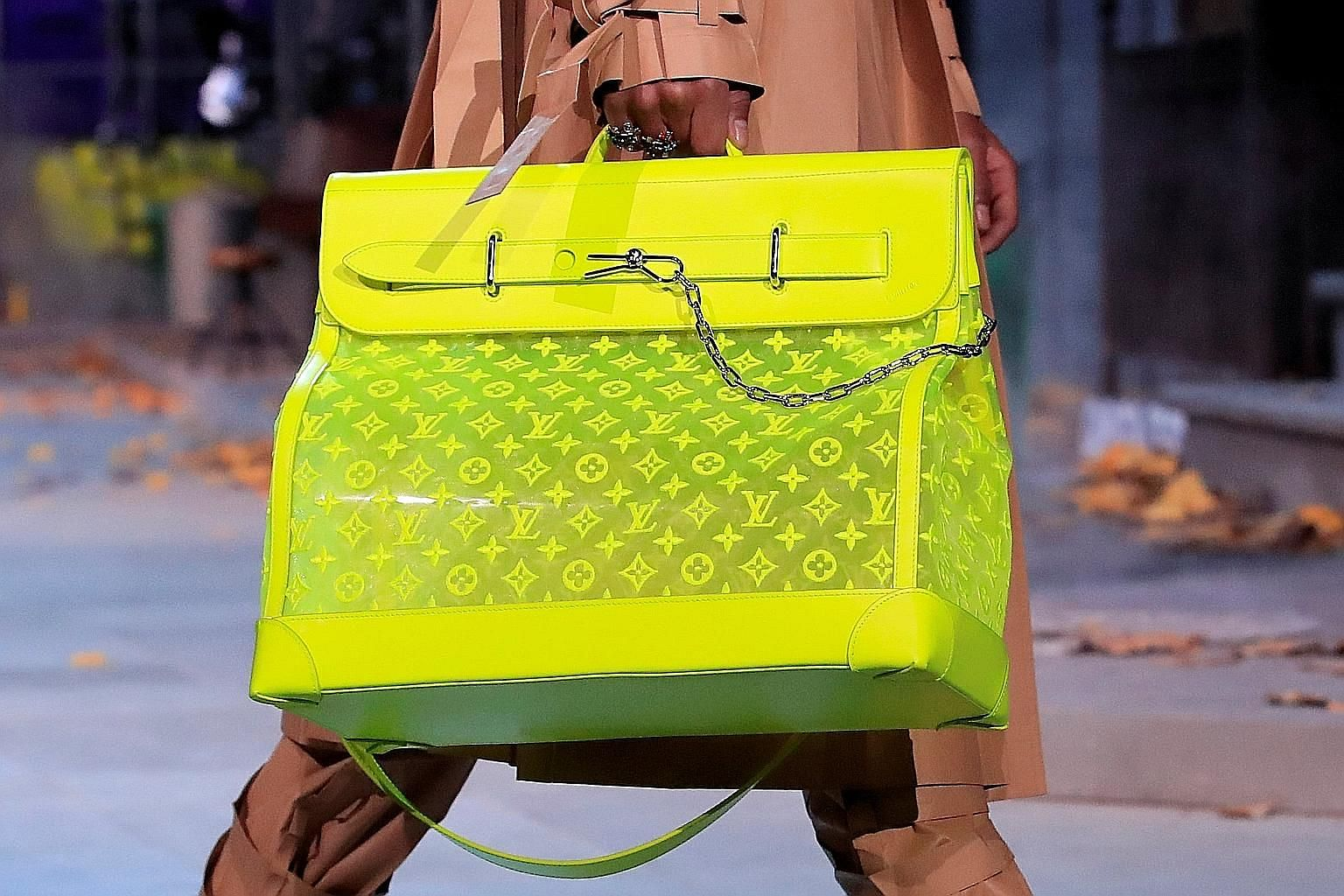 A Louis Vuitton bag by designer Virgil Abloh. LVMH shares surged to record highs as the key fashion and leather division posted a 15 per cent gain.