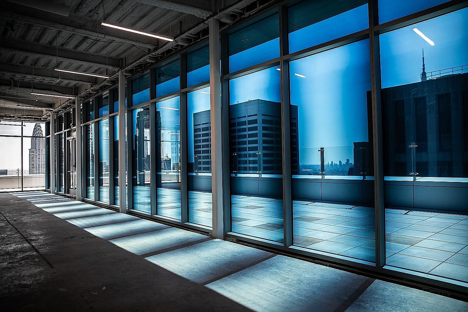 Smart windows made by View darken as the sun becomes brighter in a building in midtown Manhattan.