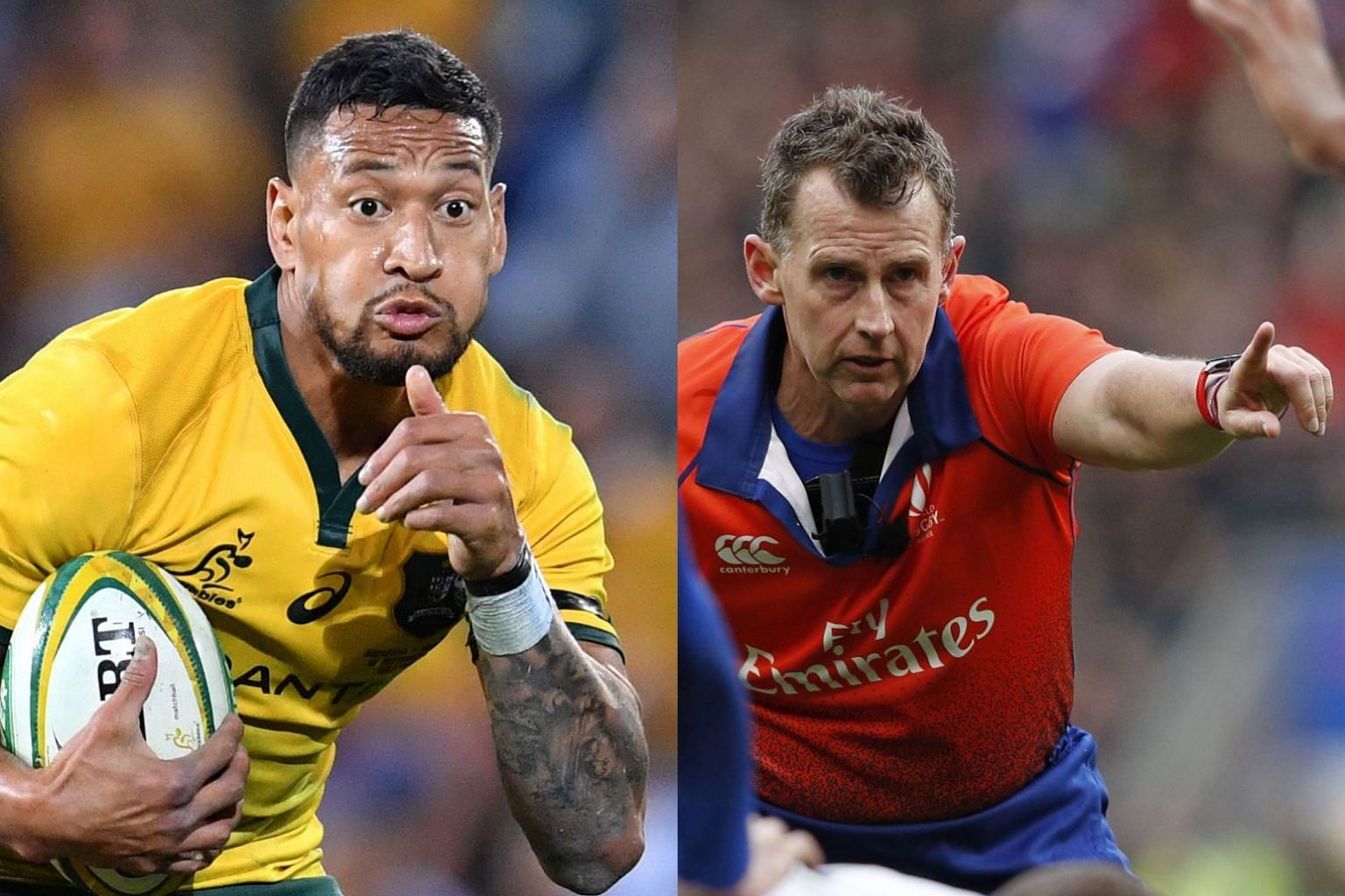 Australian rugby star Israel Folau (left) has been openly espousing his conservative and bigoted views. Welsh referee Nigel Owens (right), in contrast, has had to fight his personal battle, being gay.