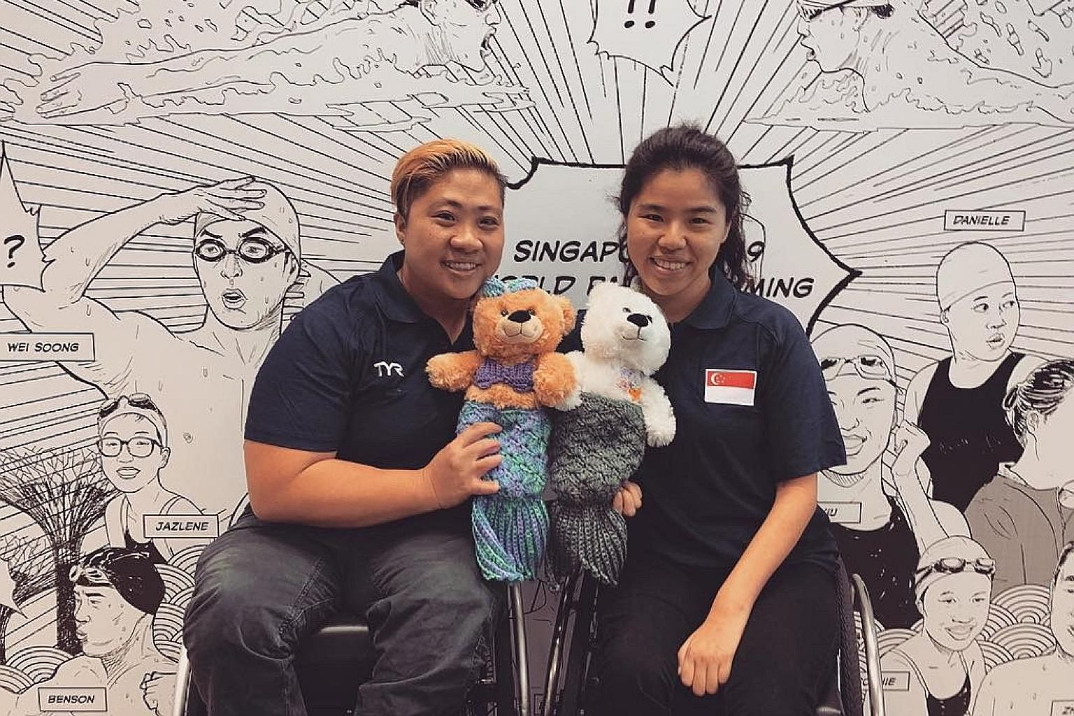 "SWEET TWEET ""#oneteamsg #worldparaswimming #bear #auction"" Singapore's para swimmers Theresa Goh and Yip Pin Xiu show off their narwhal and mermaid bears."