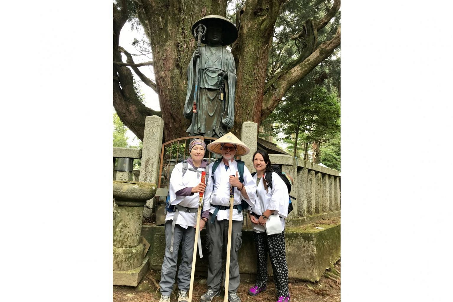 Writer Gary Hayden on the Shikoku pilgrimage with his wife Wendy (left) and their friend Lorraine. The pilgrimage is often done in four stages and the writer has completed the first one and plans to complete the remaining stages over the next twelve month