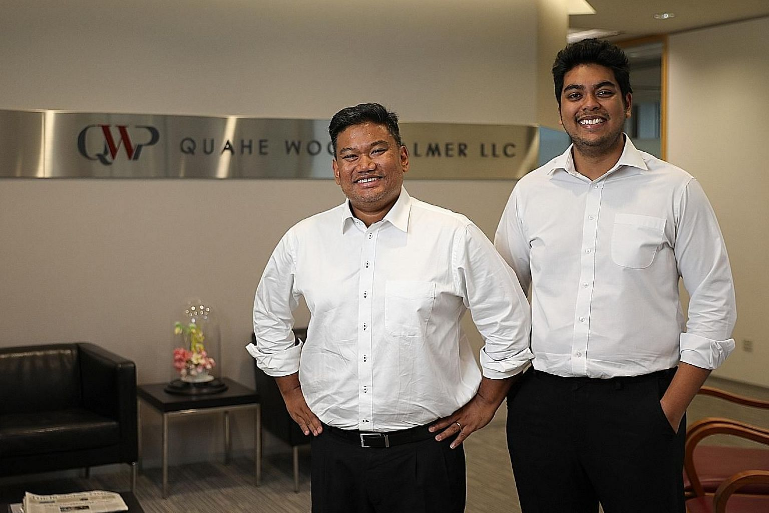 Mr Subhas Anandan (centre) with his nephew Sunil Sudheesan and lawyer Diana Ngiam at law firm RHTLaw Taylor Wessing in November 2014. Mr Sujesh Anandan (right), son of the late top criminal lawyer Subhas Anandan, is working with Mr Sunil Sudheesan at
