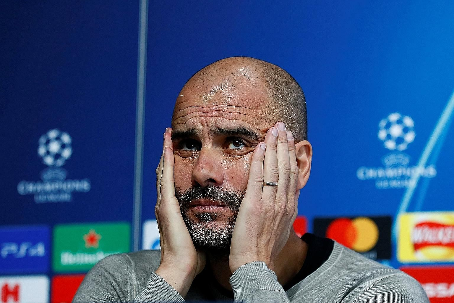 Manchester City manager Pep Guardiola, at yesterday's press conference, wants the home crowd at the Etihad Stadium tomorrow to be as lively as the one when they beat Liverpool 2-1. City lost the Champions League quarter-finals first leg to Spurs 1-0.
