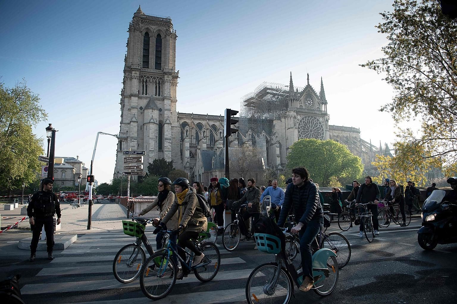 Notre-Dame in the aftermath of Monday's fire. Without any evidence suggesting arson, some pundits have concluded that the blaze must have been the work of Islamists or leftists, says the writer. The authorities do not suspect foul play but are probin