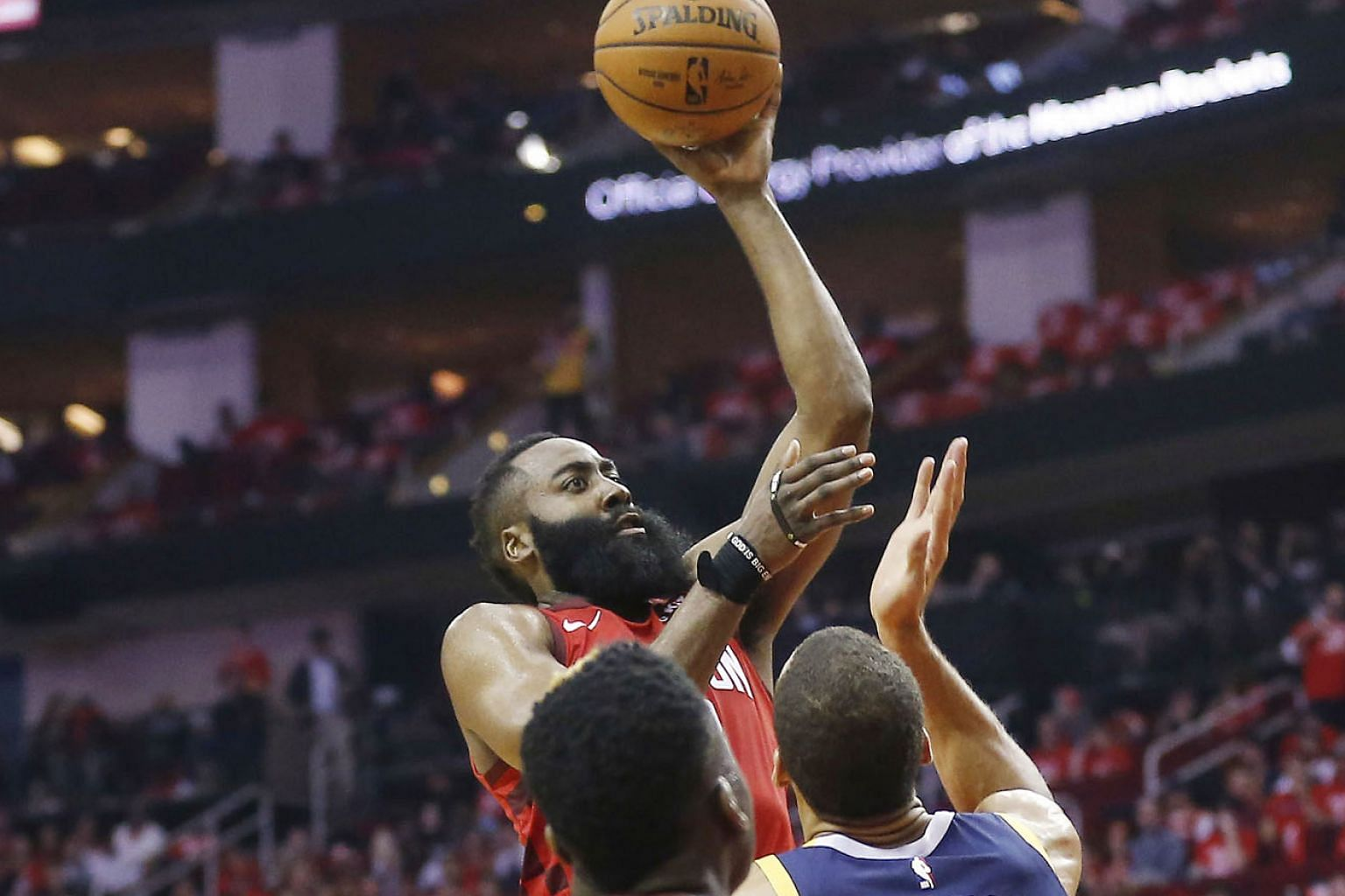 Houston's James Harden driving to the basket over Rudy Gobert of Utah Jazz as Clint Capela and Ricky Rubio look on during Game 2 of their National Basketball Association first-round play-off series at the Toyota Centre on Wednesday. The Rockets won 1