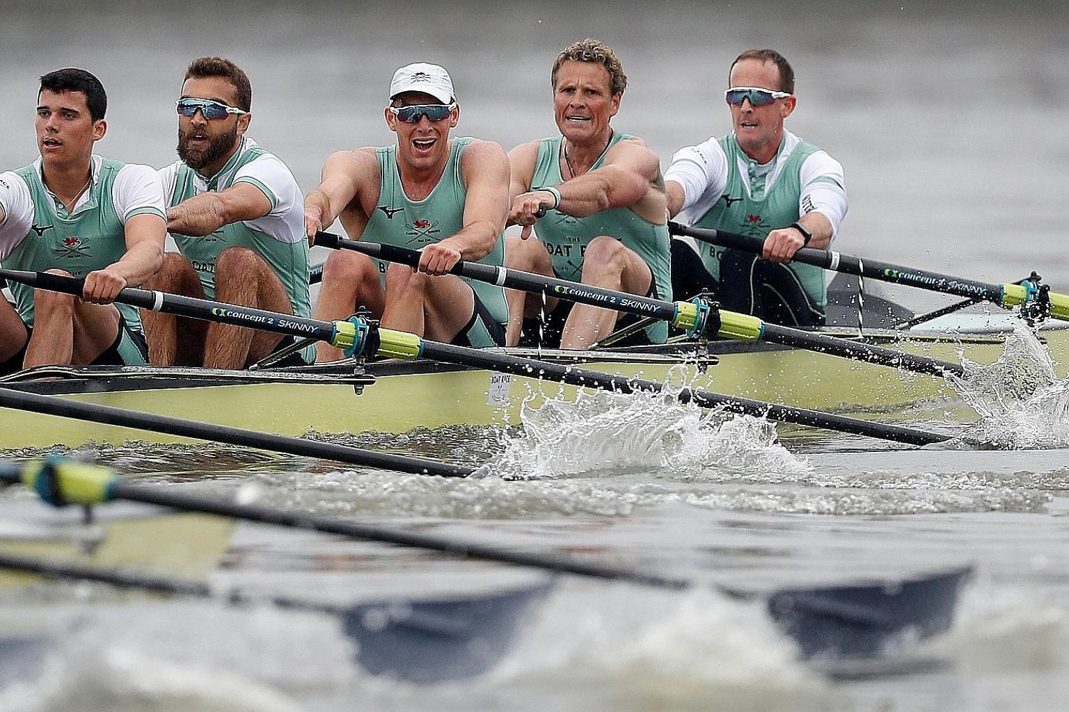 Cambridge's James Cracknell (second from right) during the Boat Race, which his team won by a length. The 46-year-old, a two-time Olympic champion and six-time world champion, is the oldest man by far to row in the event.
