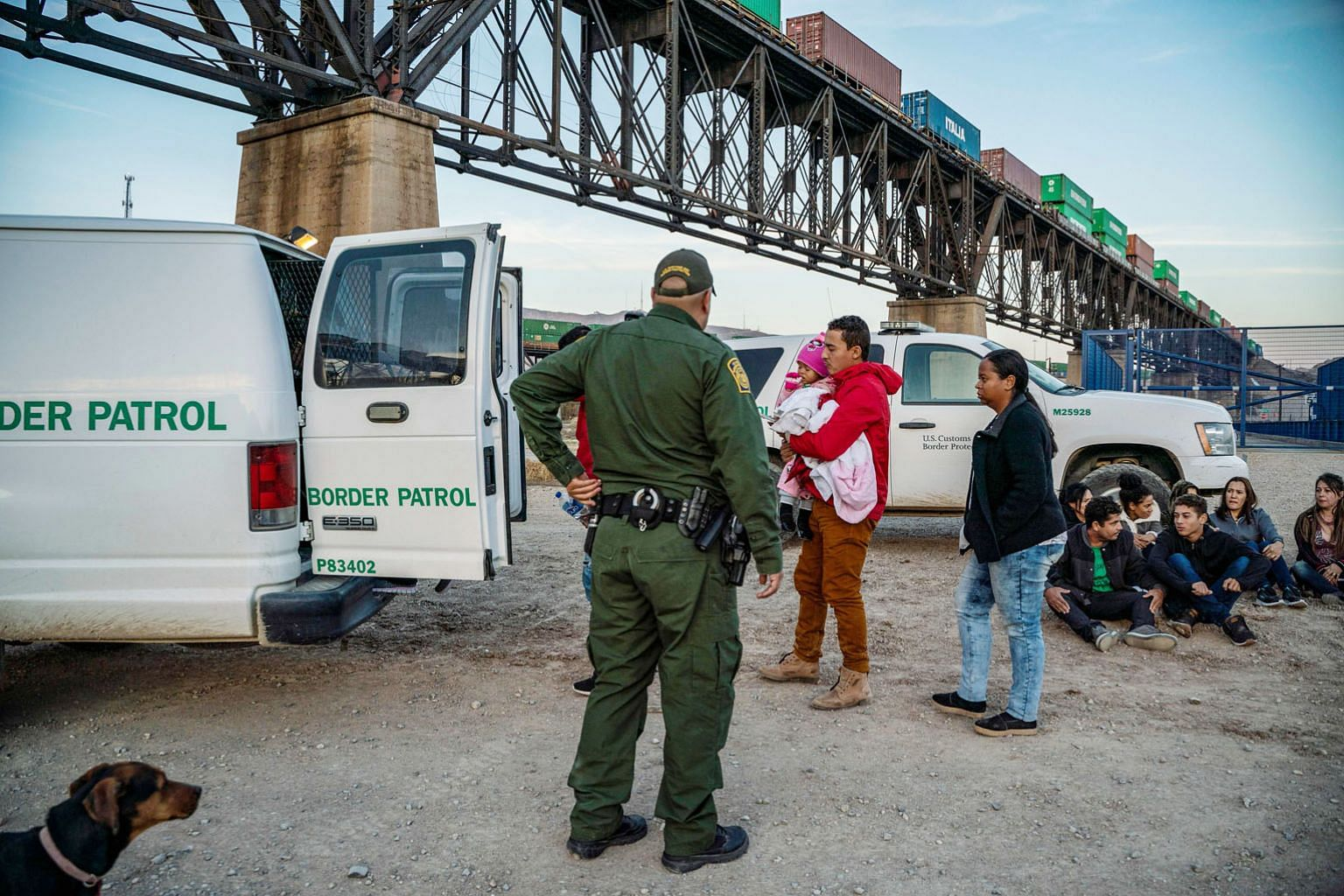 A group of Brazilian migrants getting into a US Border Patrol van after having just crossed the US-Mexico border last month. US President Donald Trump does not need to fix the immigration problem; he just needs voters to have it at the front of their