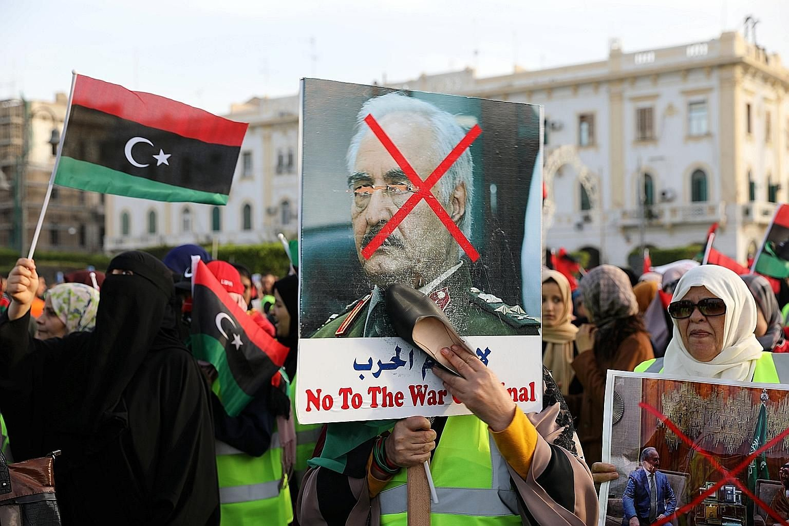 Libyan protesters attending a demonstration in Martyrs' Square last Friday to demand an end to Mr Khalifa Haftar's offensive against Tripoli. The Libyan strongman enjoys the support of Egypt, Saudi Arabia, the United Arab Emirates, Russia and now, th