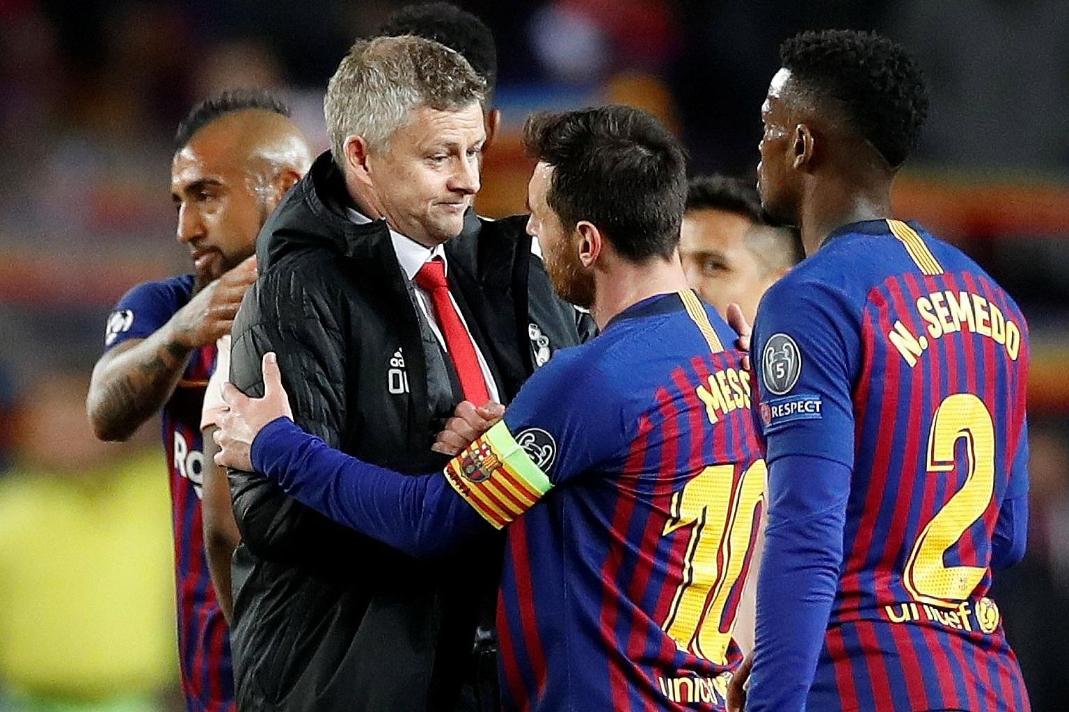 "Manchester United manager Ole Gunnar Solskjaer (with Lionel Messi after bowing out to Barcelona 4-0 on aggregate in the Champions League quarter-finals) has ""five games to see if we can finish it off"". PHOTO: REUTERS"