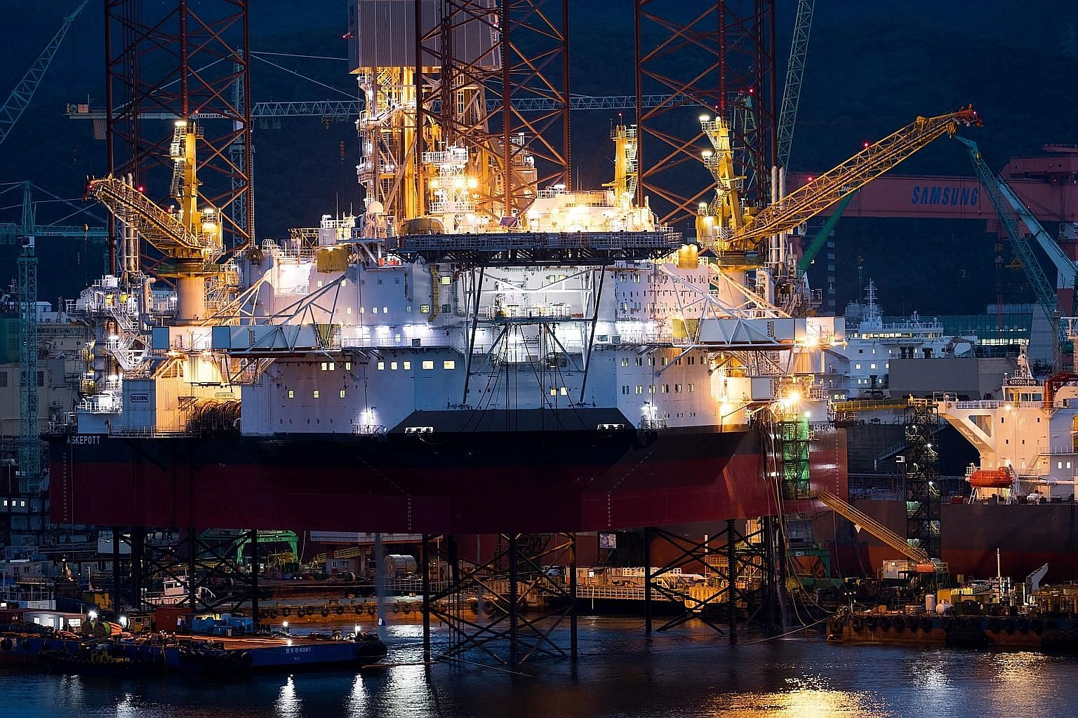An oil rig at a shipyard in Geoje, South Korea. Key economic data releases in Asia this week include the country's first-quarter GDP and China's March industrial profit.