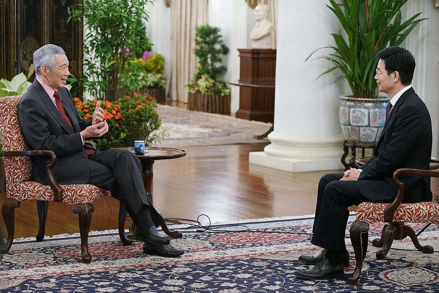 Prime Minister Lee Hsien Loong being interviewed by Xinhua news agency on Monday, ahead of the second Belt and Road forum, which starts tomorrow. In the interview, PM Lee touched on China's Belt and Road Initiative as well as Singapore-China ties.