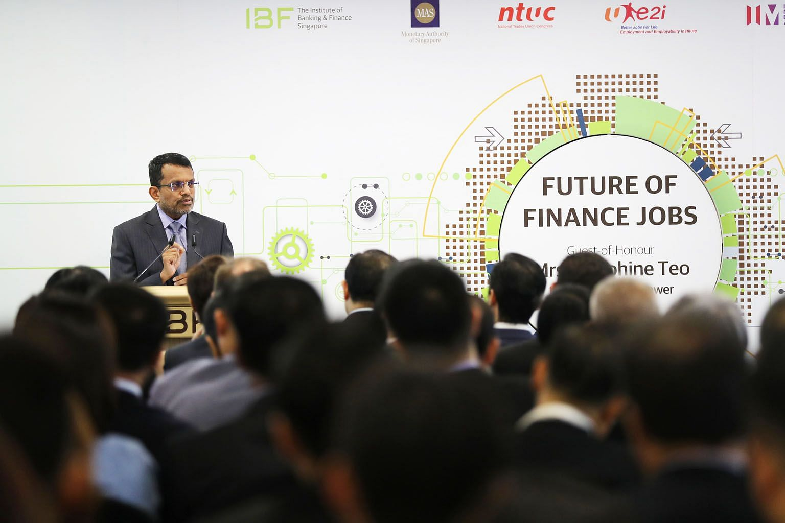 Monetary Authority of Singapore chief Ravi Menon said at the report's release yesterday that while many financial sector jobs have not disappeared, the tasks within these jobs have changed because of technology.