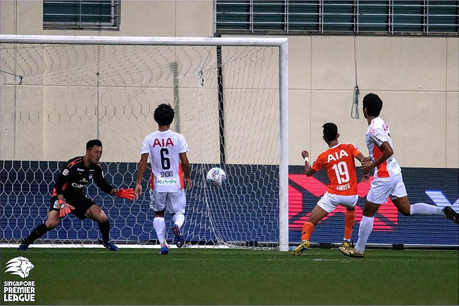 Faris Ramli opening accounts in Hougang's 4-2 win over Albirex Niigata at the Jalan Besar Stadium. The White Swans, last year's unbeaten champions, have been hurt by a rule which requires them to field more local players. PHOTO: FAS