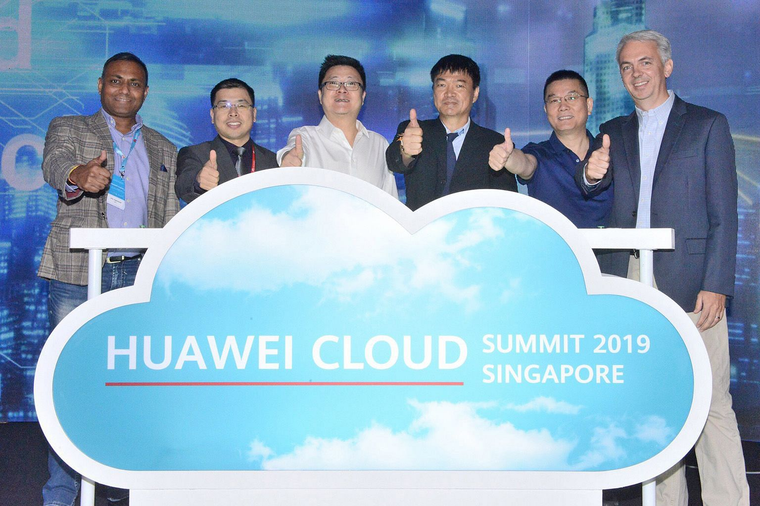 At the launch of Huawei's innovation lab here yesterday were (from left) Mr Jitu Agrawal, vice-president of digital core cloud at SAP South-East Asia; Mr Nicholas Ma, Huawei International CEO; Mr Edward Deng, Huawei Cloud Global Market president; Pro