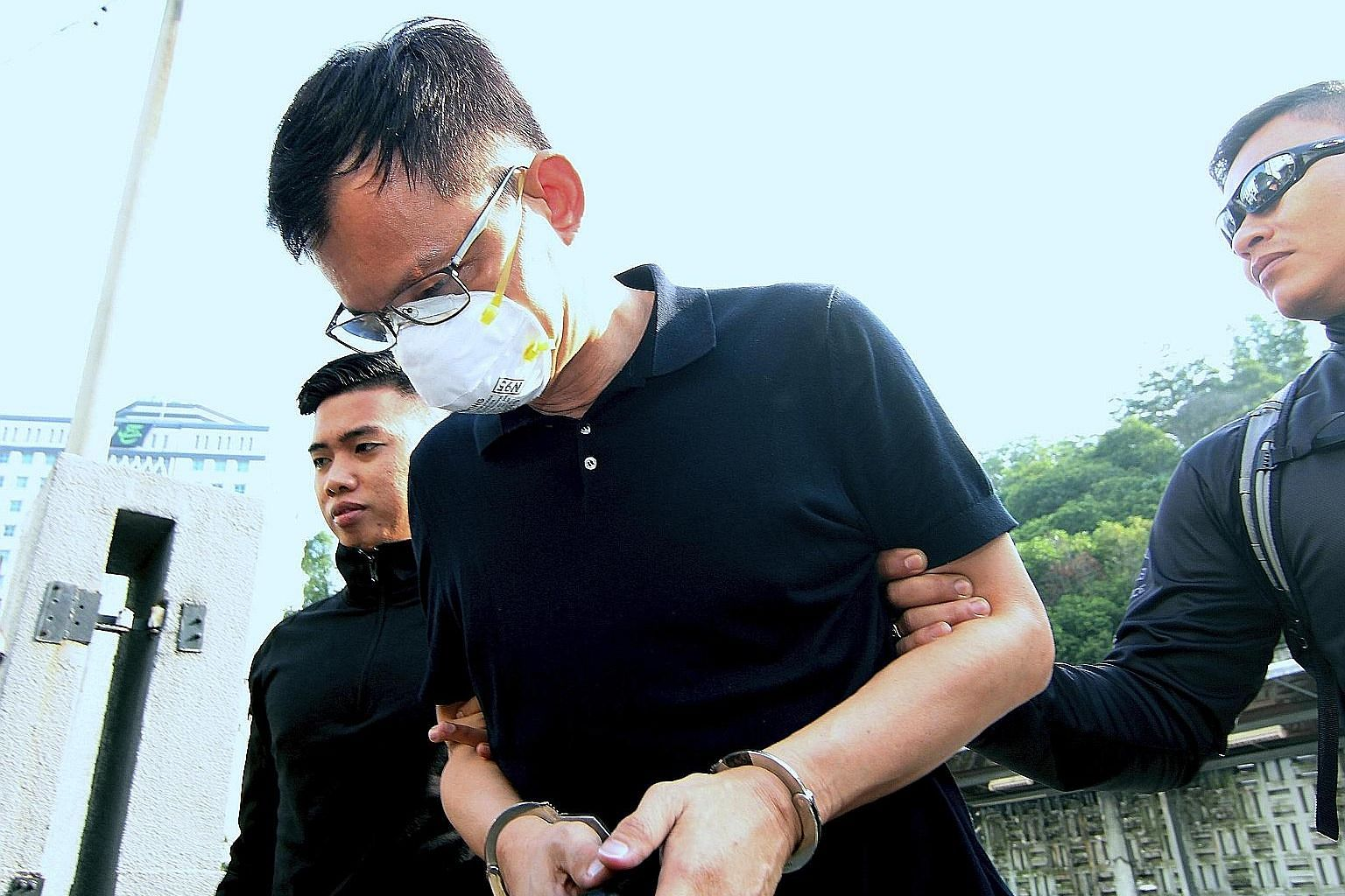 Sim Wei Der, a non-executive director of a used-tyre processing company, was charged with abetting three others to dispose of oil waste and sludge into Sungai Kim Kim in Johor on March 7 using a Mitsubishi lorry and a semi-trailer tank. PHOTO: BERNAM