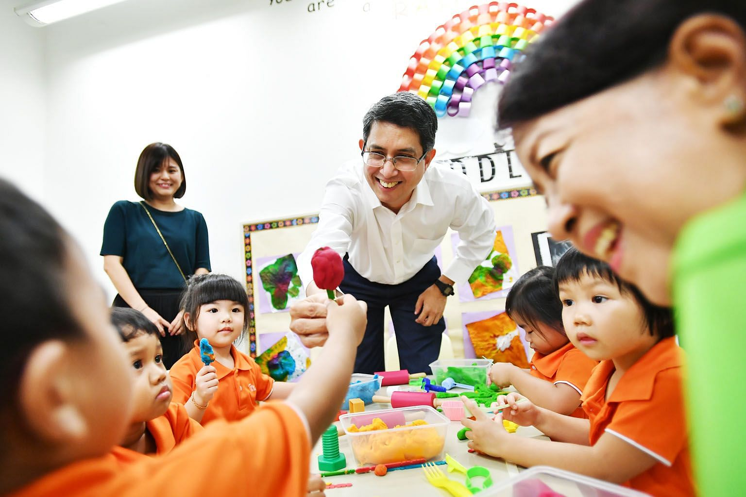 Senior Parliamentary Secretary for Social and Family Development and Education Muhammad Faishal Ibrahim interacting with children during a visit to a My First Skool branch in Yishun this week. For a start, M³'s collaboration with the Early Childhood