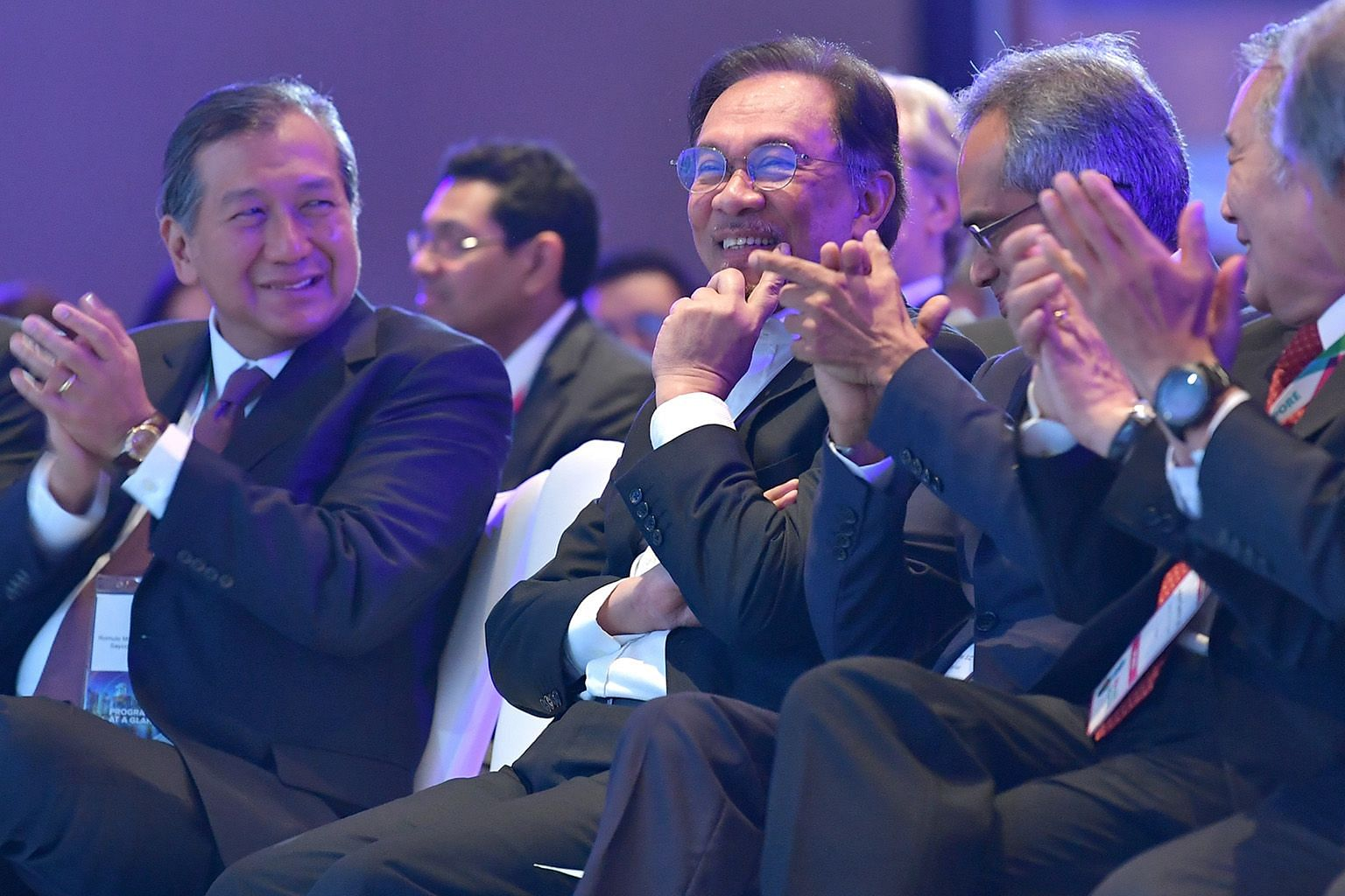 Datuk Seri Anwar Ibrahim (second from left) discussing the present and future challenges facing Malaysia and the region at the IPBA event yesterday. With him are (from left) IPBA president Perry Pe, moderator Francis Xavier, and Justice Quentin Loh.