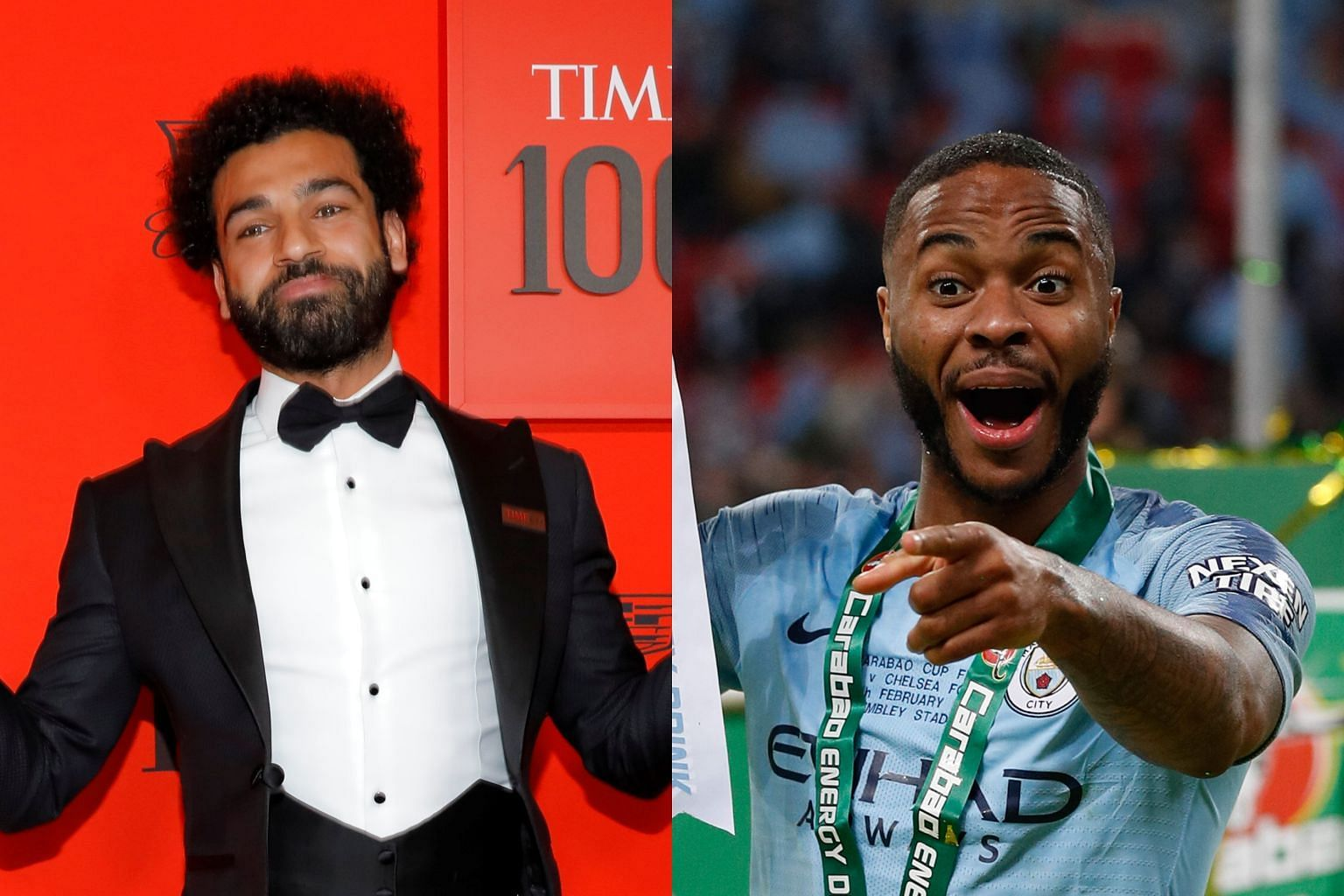 Liverpool's Mohamed Salah (left) arriving for the Time 100 Gala, celebrating Time magazine's 100 most influential people in the world in New York on Tuesday. Raheem Sterling (right) with the League Cup after Manchester City beat Chelsea at Wembley Stadium