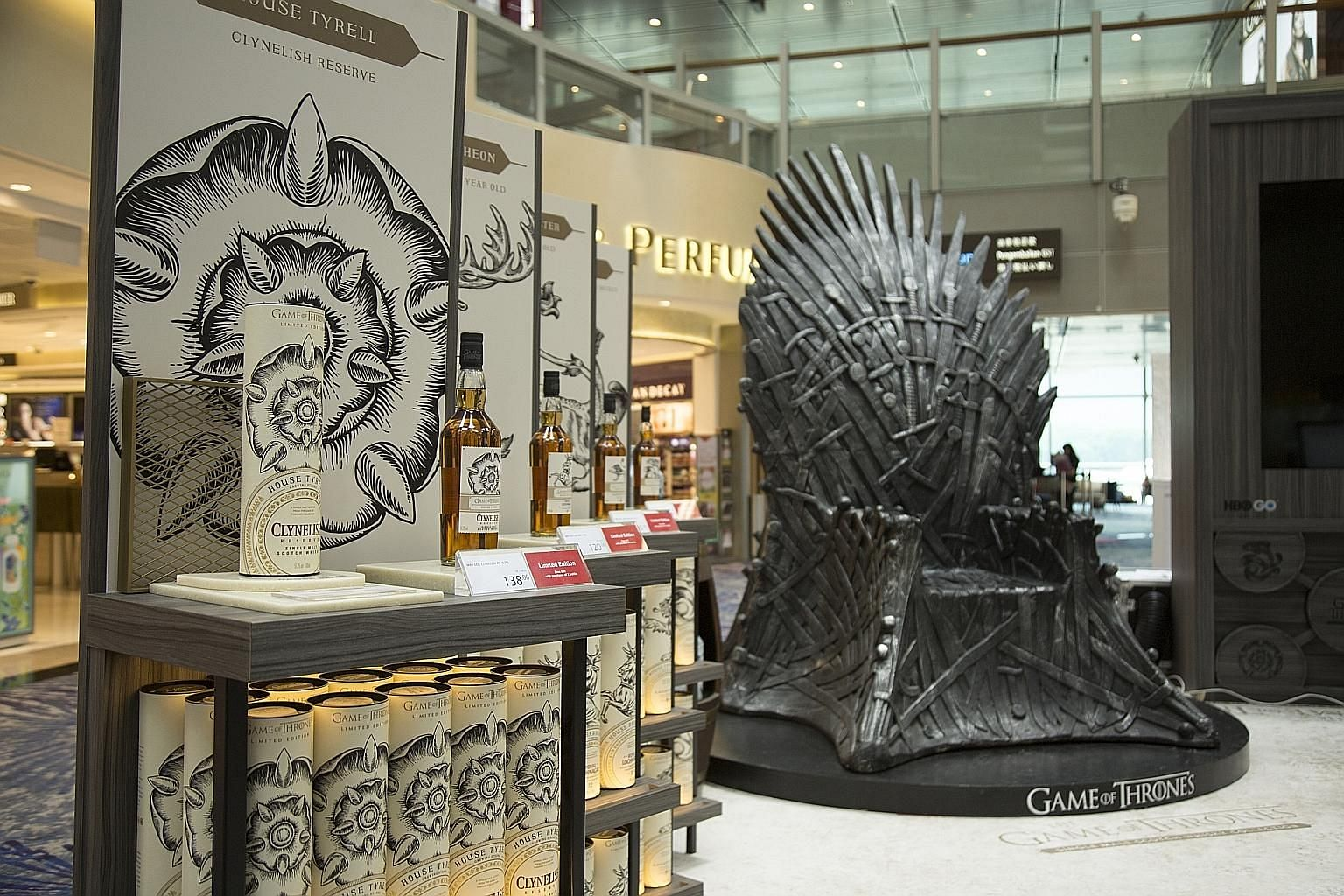 Sample a limited-edition collection of Game Of Thrones single malt Scotch whiskies at the departure hall of Terminal 3 and get your picture taken seated on a life-size Iron Throne.