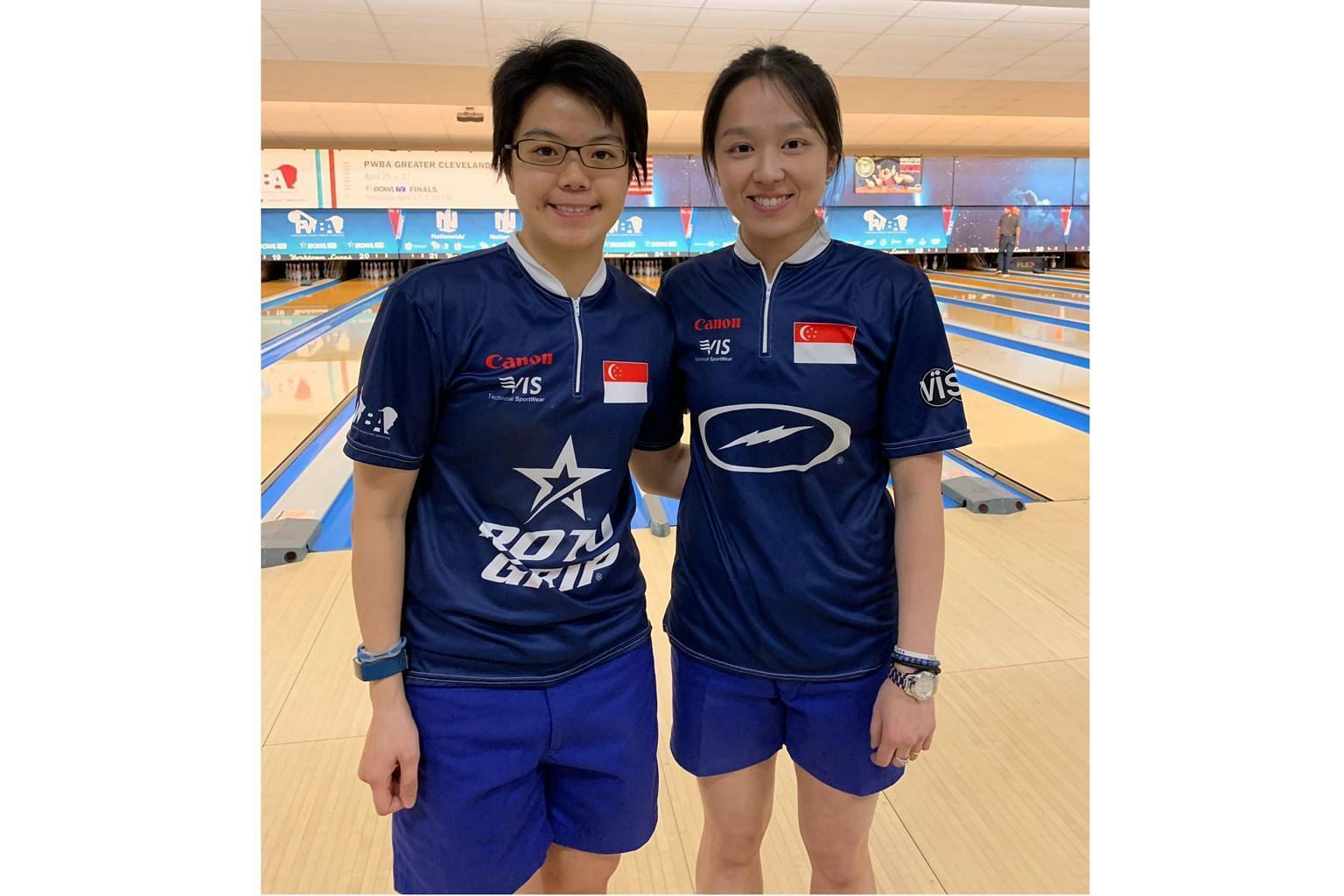 National bowlers Cherie Tan (left) and Jazreel Tan finished second and third respectively at the Nationwide PWBA Greater Cleveland Open on Saturday.