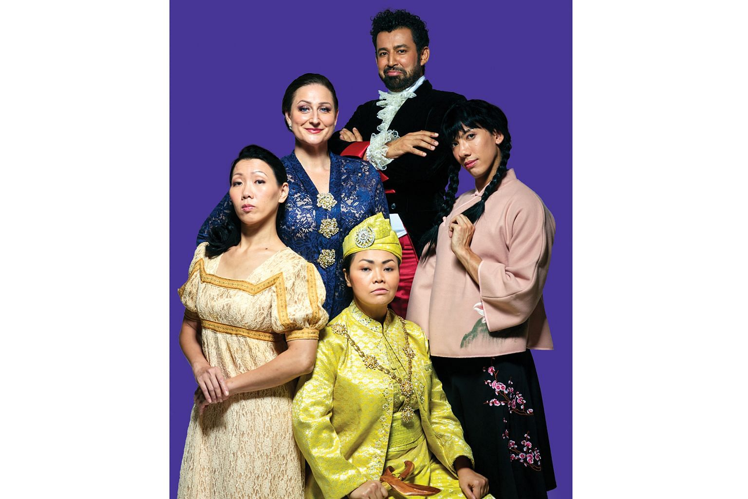 The cast (clockwise from top) Ghafir Akbar and Lian Sutton (in pigtails) from Malaysia, Siti Khalijah Zainal and Koh Wan Ching from Singapore, and Edith Podesta from Australia.